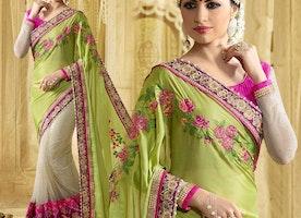 Engaging Green And Cream Raw Silk Half Saree Online