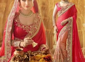 Ravishing Pink And Peach Raw Silk Modern Half Sari