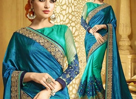 Ineffable Green And Blue Raw Silk Modern Half Saree