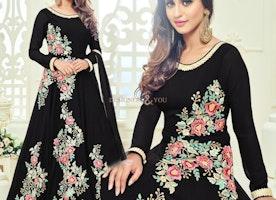 Ephemeral Black Embroidered Georgette Bollywood Dress By Krystle Dsouza