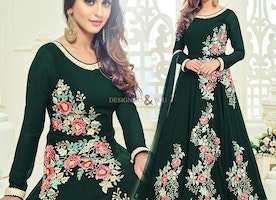 Pleasing Green Embroidered Georgette Bollywood Suit By Krystle Dsouza