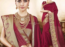 Gorgeous Maroon Raw Silk Printed Casual Sari With Matching Blouse