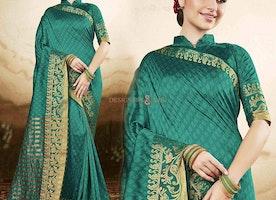 Graceful Green Raw Silk Printed Simple Saree Blouse Design