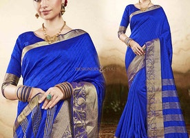 Delightful Blue Raw Silk Printed Casual Saree Blouse Design