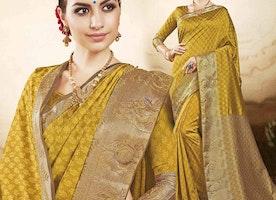 Pleasing Yellow Raw Silk Printed Casual Saree Online India