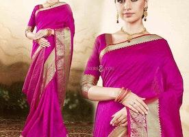 Bewitching Pink Raw Silk Printed Daily Wear Saree Blouse Design