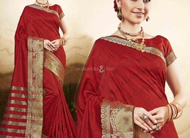 Good Looking Red Raw Silk Printed Cheap Saree For Working Women