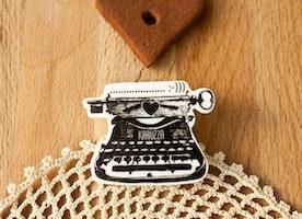 Typewriter Brooch Original Gift For Her