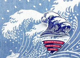 Hokusai Wave Brooch Nautical Fashion Summer Gift For Her