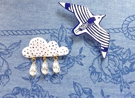 Bird And Rainy Cloud Brooches Nautical Freedom Summertime Unique Gift