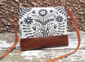 Floral Cross Body Bag Folk Print Flower Linen Bag