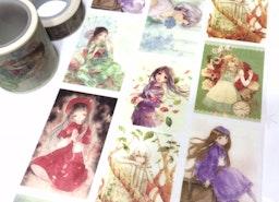 cute girl washi tape 5M x 4cm cg girl lovely girl teen girl pretty Japanese comic girl natural beauty wide tape girl planner diary sticker