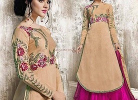 Delightful Beige Georgette Party Dress For Fashionables