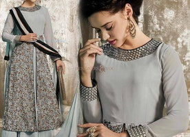 Pleasing Grey Georgette Indo Western Dress For Ladies