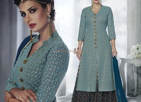 Good Looking Blue Georgette Embroidered Designer Dress For Party