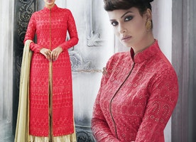 Lovely Pink Raw Silk Embroidered Indo Western Suit For Fashionables