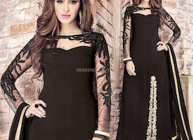 Graceful Black Georgette Party Wear Suit For Women With Front Slit