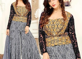Irresistible Black And Grey Net Indo Western Suit For Ladies
