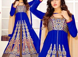 Artistic Blue Georgette Designer Indo Western Dress
