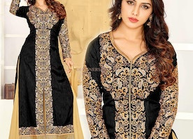 Exquisite Black Raw Silk Designer Indo Western Suit
