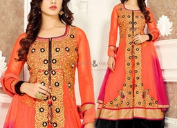 Aesthetic Orange Georgette Designer Dress For Women