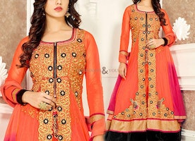 Aesthetic Orange Georgette Designer Dress For Women