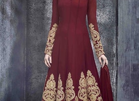 INVALUABLE PURE GEORGETTE LONG LENGTH DESIGNER ANARKALI SUIT
