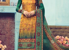GREEN AND ORANGE DIGITAL PRINT WORK PAKISTANI STRAIGHT SALWAR KAMEEZ