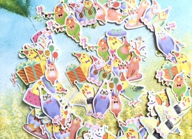 70 birds sticker rare bird super cute bird planner sticker fancy little birds flake sticker baby birds fairy tale bird decor label sticker