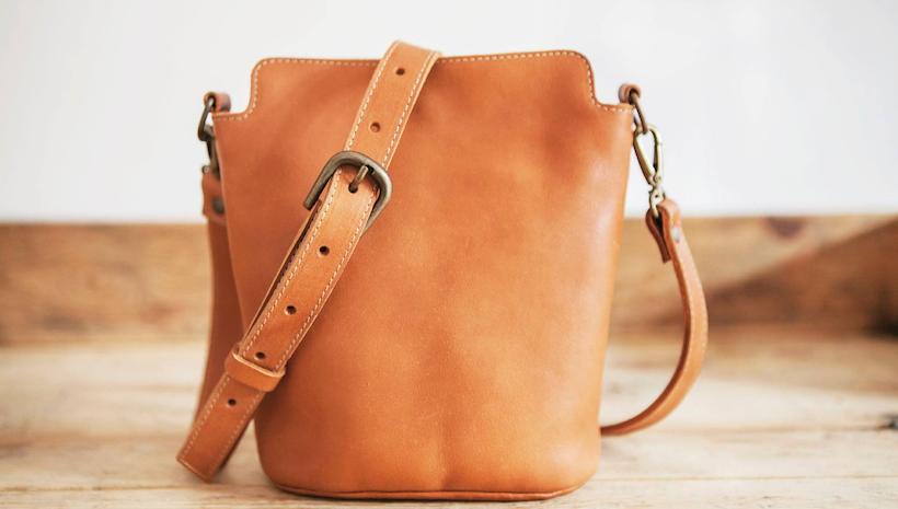 Cowhide Leather Bag Small Handbag Brown Cross