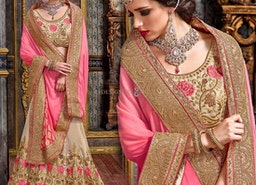 Enchanting Beige Art Silk Embroidered Lahenga Choli For Reception