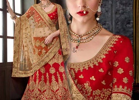 Captivating Red Georgette Embroidered Lahenga For Engagement