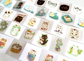 40 cute cat label sticker meow meow cartoon cat kawaii flower cat pussy flake sticker Cute pet lovely little kitten kitty cat deco seal gift