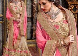 Enchanting Beige Art Silk Embroidered Lahenga Choli For Reception
