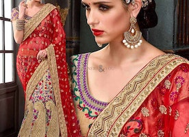Fascinating Beige Georgette Embroidered Lehenga For Engagement