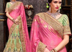 Chic Green Art Silk Embroidered Lahenga For Reception