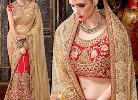 Fashionable Cream Art Silk Embroidered Wedding Lehenga Choli Design