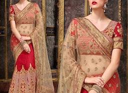 Beautiful Red Art Silk Embroidered Wedding Lehenga Choli