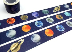Planet washi tape 10M x 2cm SOLAR System Planets WIDE tape planet sticker universe sky earth venus mars outer space planner sticker gift