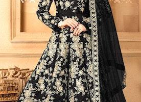 Alluring Black Raw Silk Full Length Anarkali Dress Having Full Sleeves