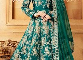Decent Green Raw Silk Floral Anarkali Dress Having Square Neck