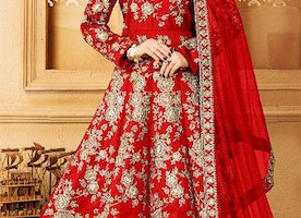 Heavenly Red Raw Silk Floor Touch Anarkali Dress Consisting Trapeze Shape