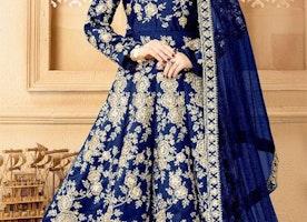 Stunning Blue Raw Silk Indian Anarkali Dress Comes With Churidar Bottom