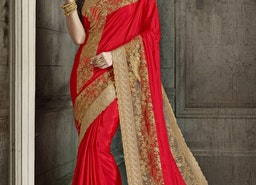 BEIGE AND RED DESIGNER CONTEMPORARY STYLE SAREE FOR FESTIVAL