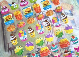 smiley food sticker french fries ice cream fried chicken Yummy cartoon food epoxy sticker party food candy sweet jelly burger sandwich icon