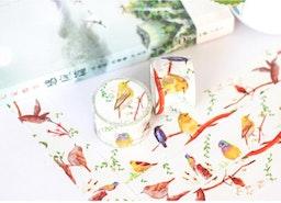 Finch washi tape 10M blue bird canary bird EXTRA WIDE deco masking tape singing bird decor sticker cute bird scrapbook gift