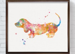 A Colorful Watercolor Dachshund Art Print To Decorate Your Wall