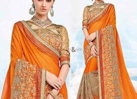 Fascinating Orange Georgette Latest Party Saree V Neck Pattern