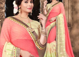 Beguiling Peach Georgette Sari For Party Having Sweetheart Neckline