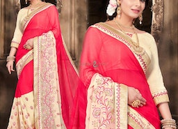 Appealing Red Georgette Stylish Saree For Party Having Boat Neck